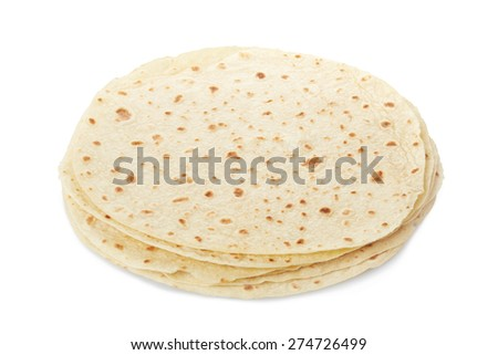 Piadina, italian tortilla heap isolated on white, clipping path included