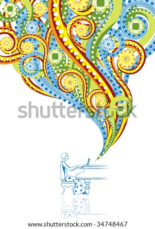 Pianist in abstract collage. Format A4. See this illustration in vector in my portfolio. - stock photo