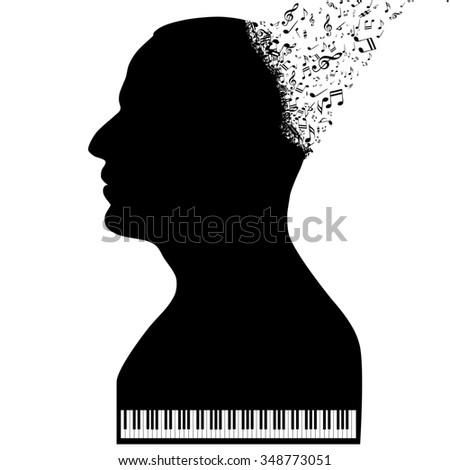 Pianist like a piano - stock photo