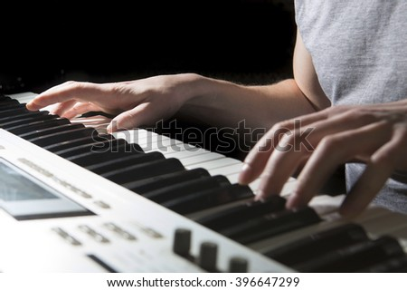 Pianist musician piano musical instrument playing. Music piano with man performer.