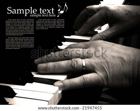 Pianist playing, space for your text - stock photo