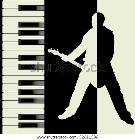 Piano and guitar. Music vector and illustration. - stock photo