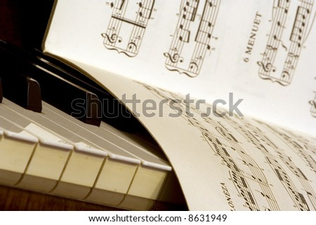 Piano and lyrics book - stock photo