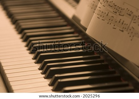 Piano and sheet music - stock photo