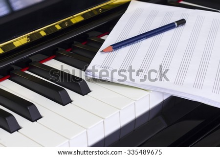 Piano and Staff note sheet with Pencil , Composer - stock photo