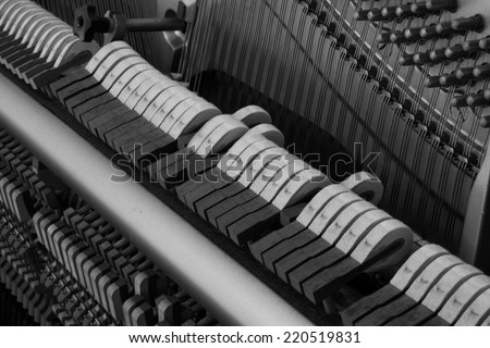 piano background, black and white, inside of a piano;