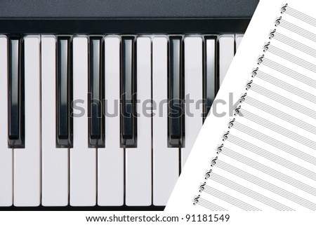 piano buttons and notes