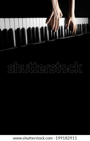 Piano concert Music instrument grand piano playing pianist hands isolated on black - stock photo