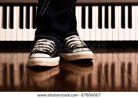 Piano Feet - stock photo