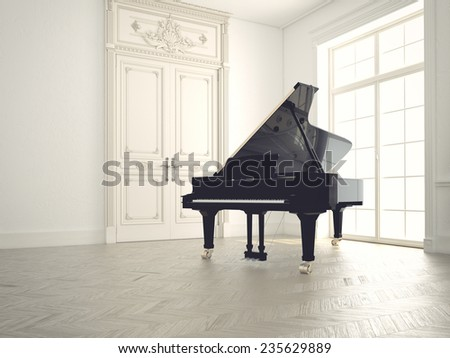 piano in a n empty classic  room. 3d rendering - stock photo