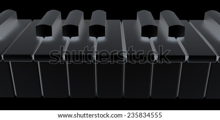 Piano isolated on black background