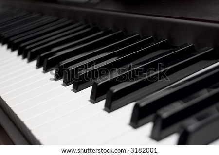 Piano Key Closeup Shallow depth of field - stock photo