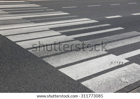 Piano key pedestrian crossing in Warsaw, Poland. - stock photo