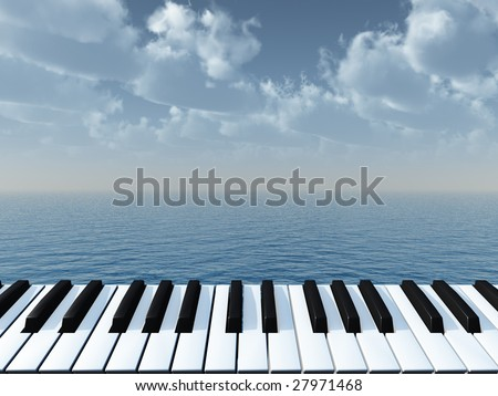 piano keyboard and water landscape - 3d illustration - stock photo