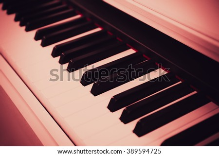 Piano keyboard close up - stock photo