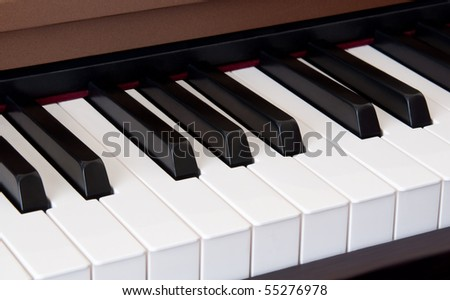 Piano keyboard close up - stock photo