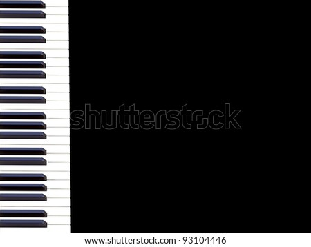 Piano keyboard on a black