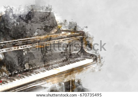painting piano keyboard abstract beautiful hand woman playing keyboard stock illustration