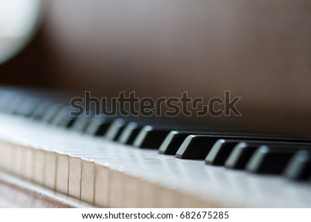 Piano, keyboard piano, side view of instrument musical tool.