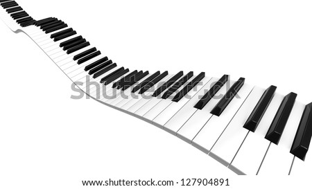 Piano keyboard sine curve on black level. - stock photo