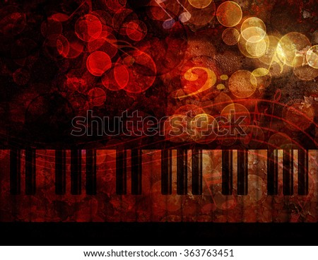Piano Keyboard with Bokeh Musical Notes and Red Grunge Texture Background Illustration - stock photo