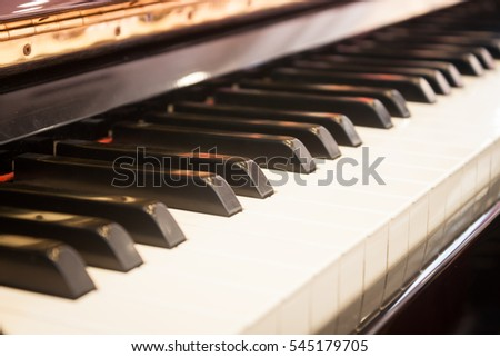 Piano keyboard with selective focus, stock photo