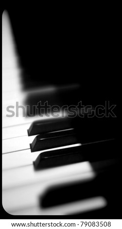 Piano Keyboard with Tilt Shift Lens Effect - stock photo