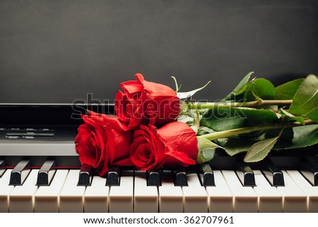 piano keys and red rose with copy-space - stock photo