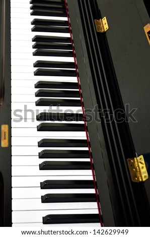 Piano keys background, Classical instrument - stock photo