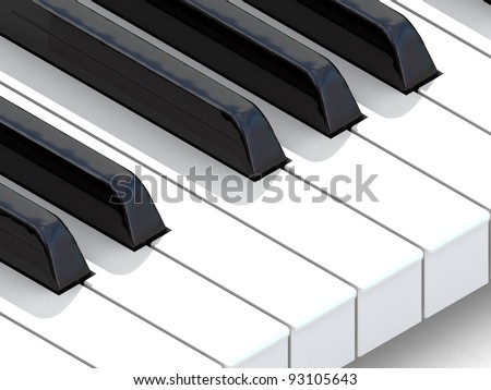 piano keys black and white - stock photo