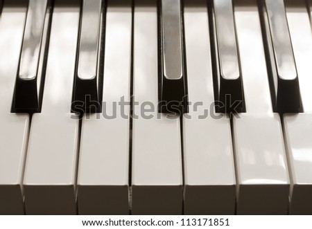piano keys black white perspective - stock photo