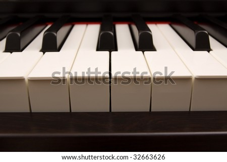 Piano keys close-up - stock photo