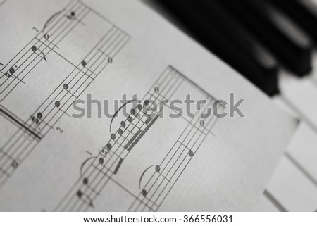 Piano keys closeup monochrome. Selective focus - stock photo
