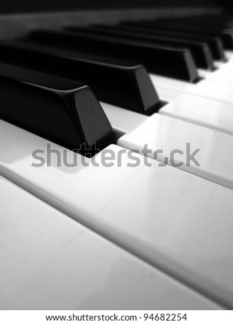 Piano keys detail in black and white - stock photo