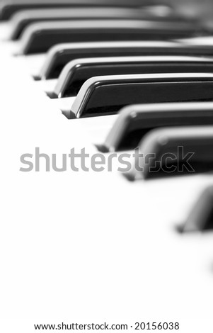 Piano keys in black and white - stock photo
