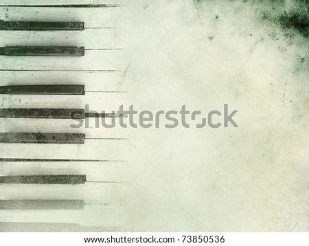 PIano keys in grunge style. Music concept.