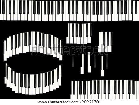 piano keys isolated on black background, texture - stock photo