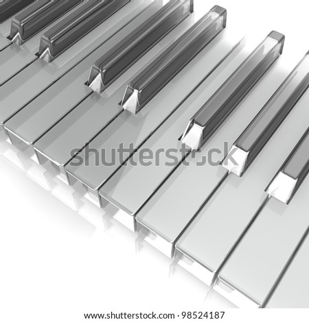 piano keys isolated on white