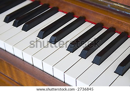Piano keys on an antique piano