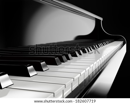 piano keys on black piano - stock photo