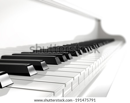 piano keys on white piano  - stock photo