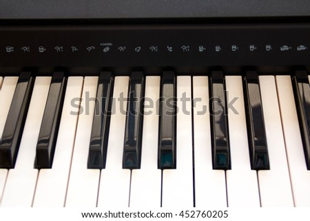 Piano Keys, part of digital midi keyboard, close up. Piano roll. Synth keys for learning to play the piano. Musical Keys. - stock photo
