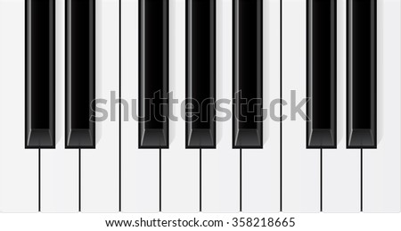 Piano keys. Raster version isolated on white background.