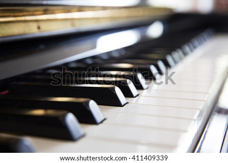 piano, music instrument, classic unplugged music instrument.  - stock photo