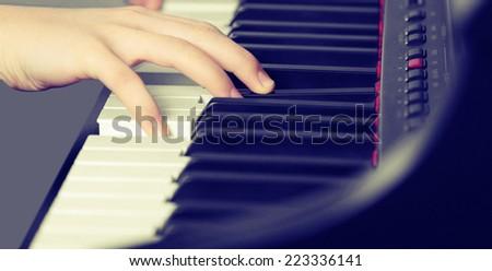 Piano music pianist hand playin - stock photo