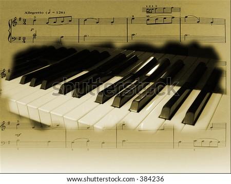 Piano & music sheet - stock photo