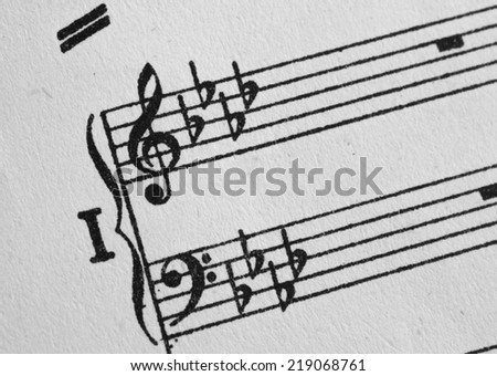 piano musical staff, G clef and F clef with rests sign - stock photo