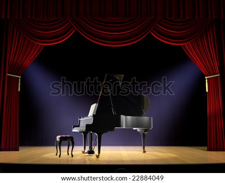 Piano on theatre stage with red curtain and spotlights on the stage floor - stock photo