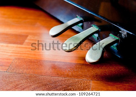 Piano pedals detail - stock photo