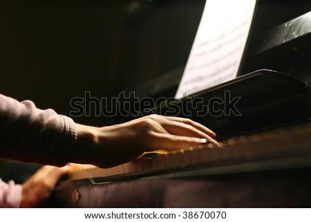 piano play - stock photo